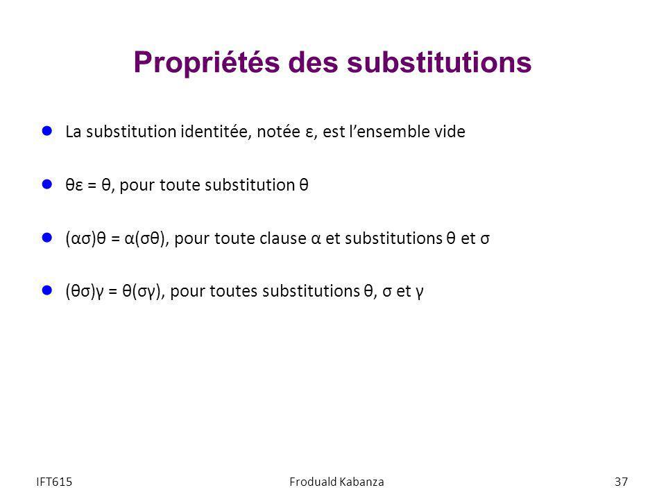 Propriétés des substitutions