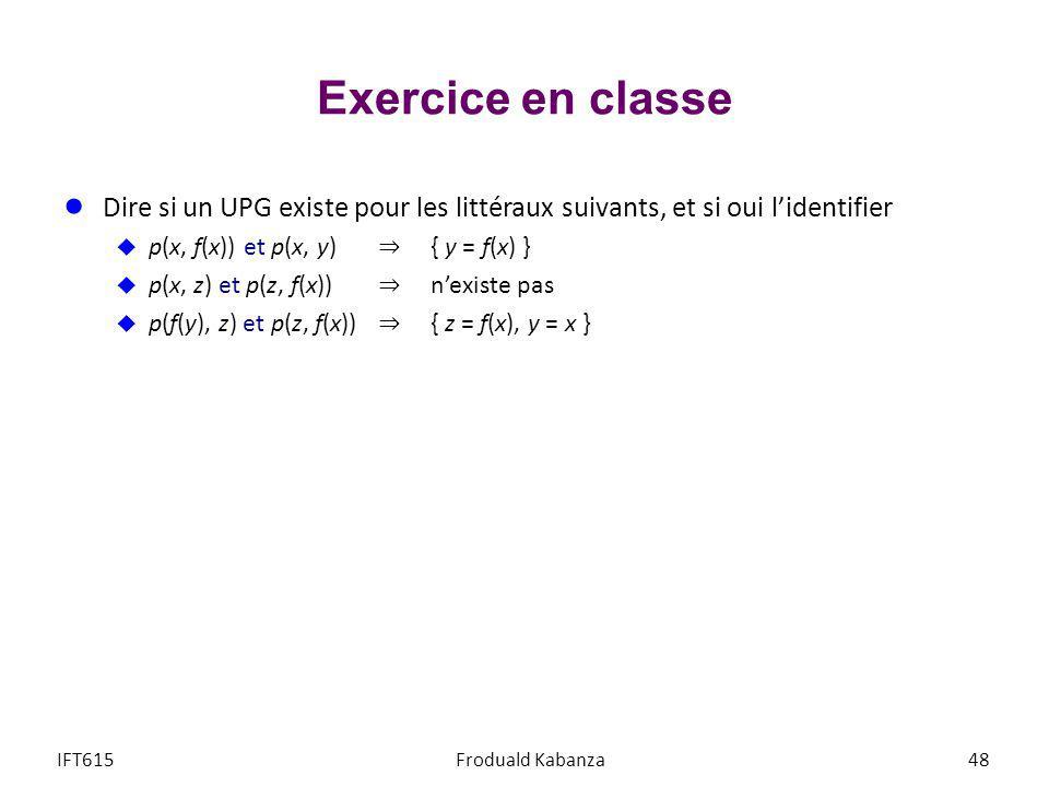 Exercice en classe Dire si un UPG existe pour les littéraux suivants, et si oui l'identifier. p(x, f(x)) et p(x, y) ⇒ { y = f(x) }