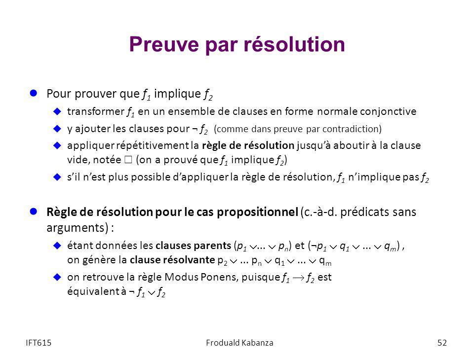 Preuve par résolution Pour prouver que f1 implique f2