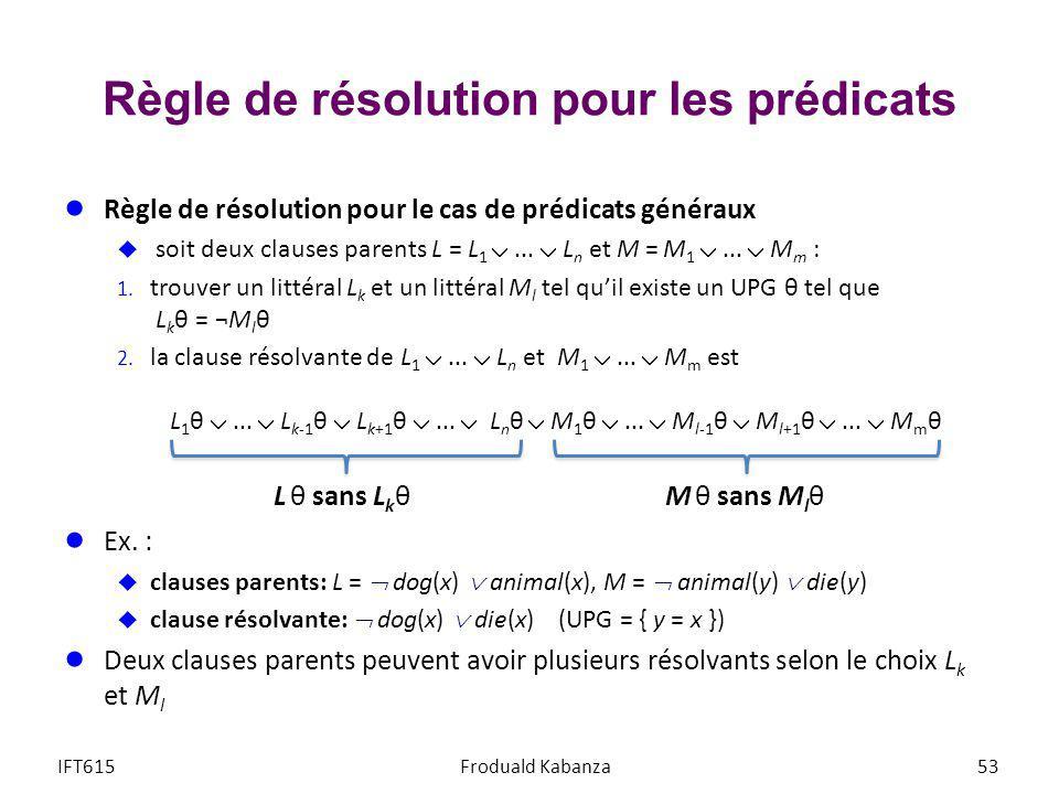 Règle de résolution pour les prédicats