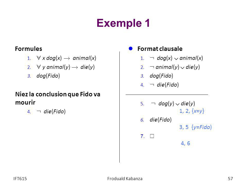 Exemple 1 Formules Format clausale