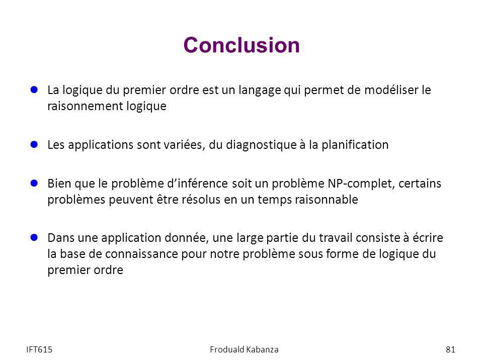 Conclusion La logique du premier ordre est un langage qui permet de modéliser le raisonnement logique.
