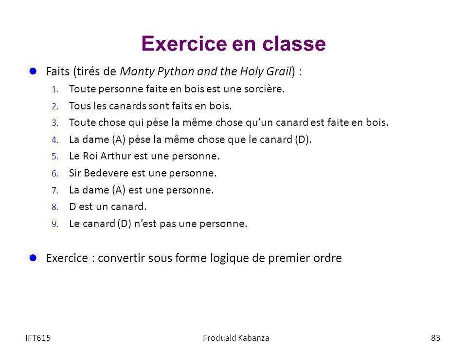 Exercice en classe Faits (tirés de Monty Python and the Holy Grail) :