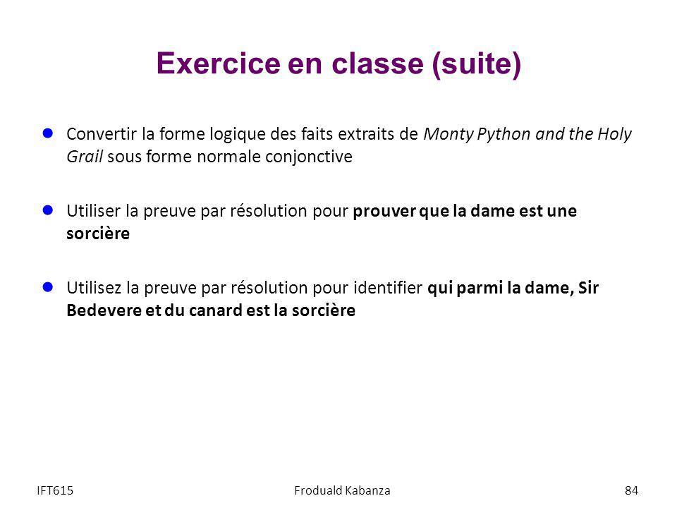 Exercice en classe (suite)