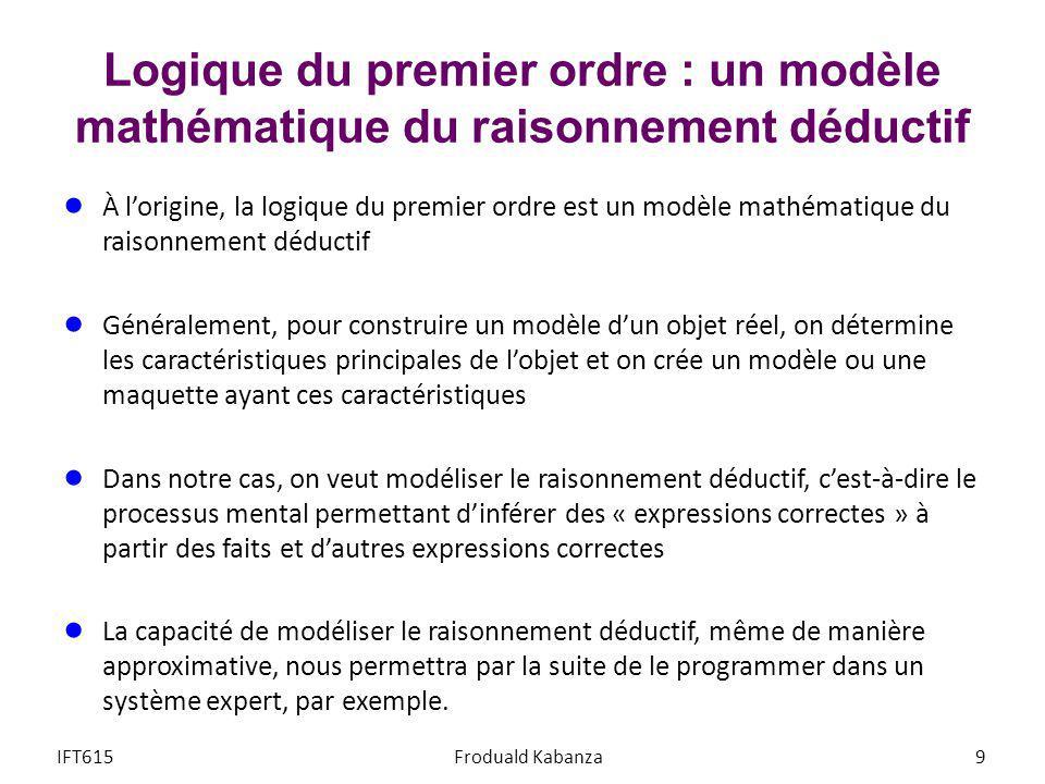 Logique du premier ordre : un modèle mathématique du raisonnement déductif