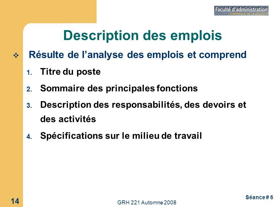 Description des emplois