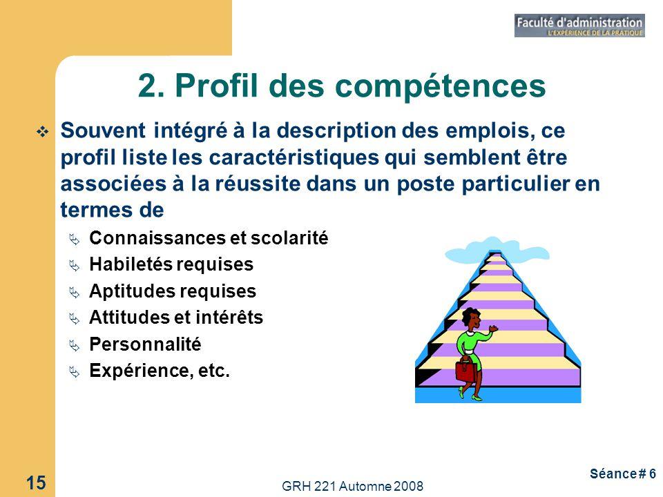 2. Profil des compétences