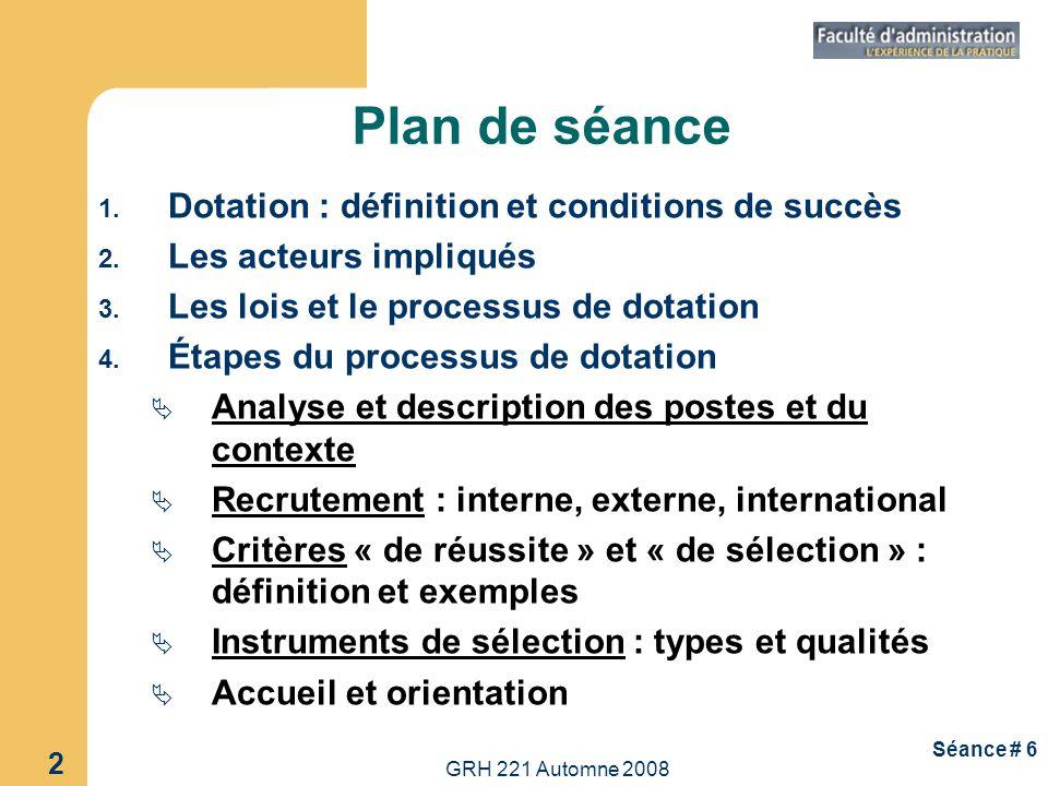 Plan de séance Dotation : définition et conditions de succès
