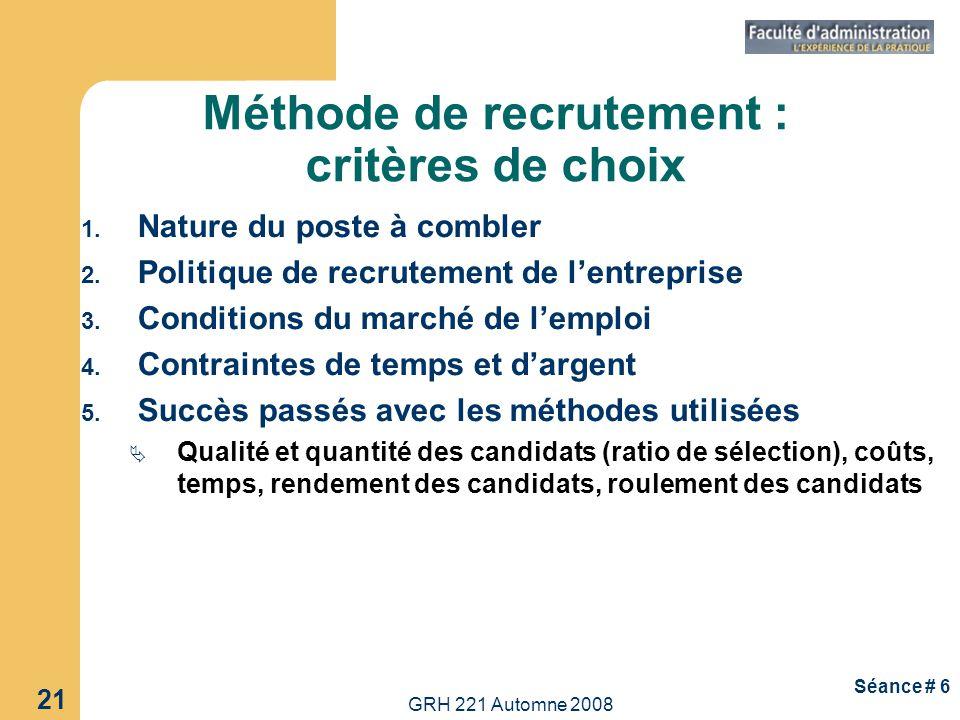 Méthode de recrutement : critères de choix
