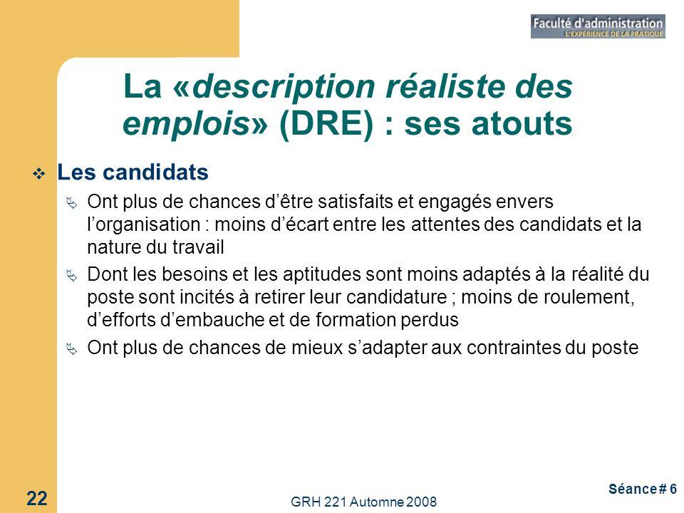 La «description réaliste des emplois» (DRE) : ses atouts