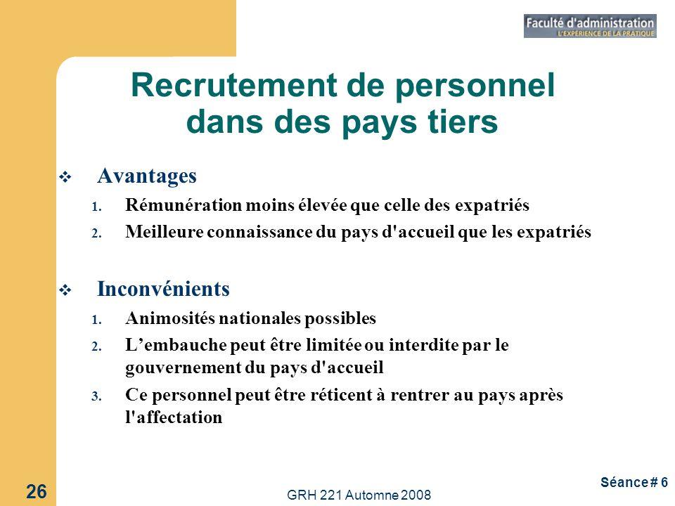 Recrutement de personnel dans des pays tiers