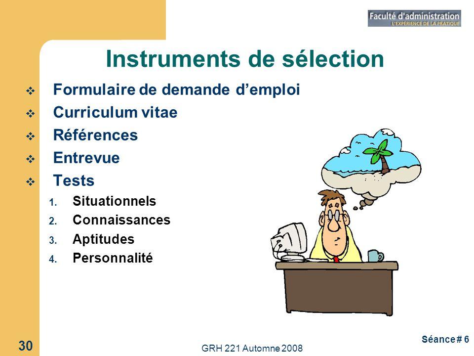 Instruments de sélection