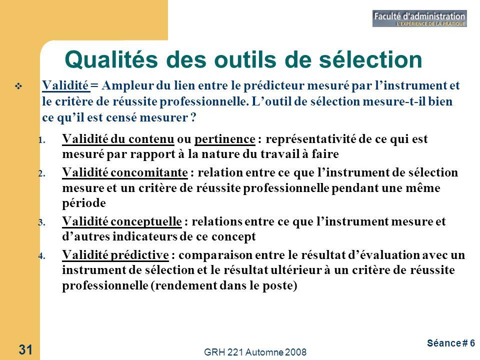 Qualités des outils de sélection