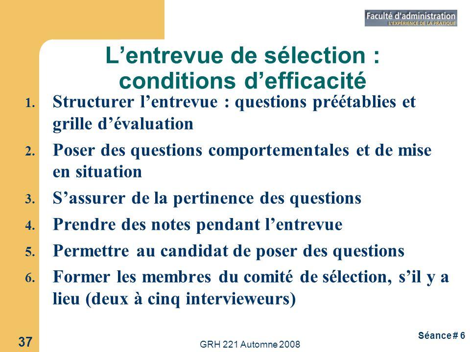 L'entrevue de sélection : conditions d'efficacité
