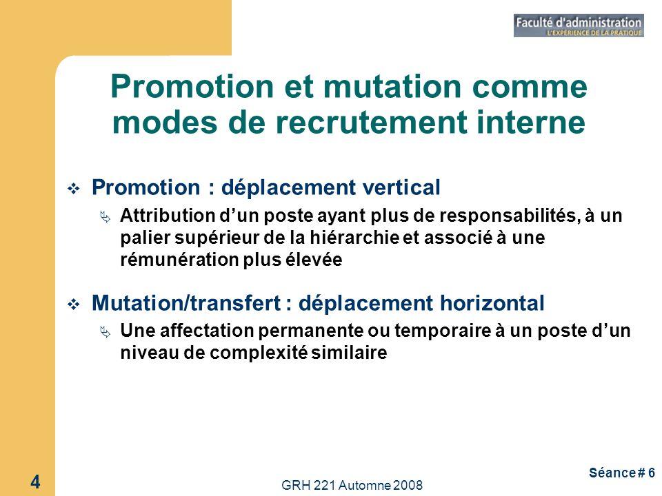 Promotion et mutation comme modes de recrutement interne
