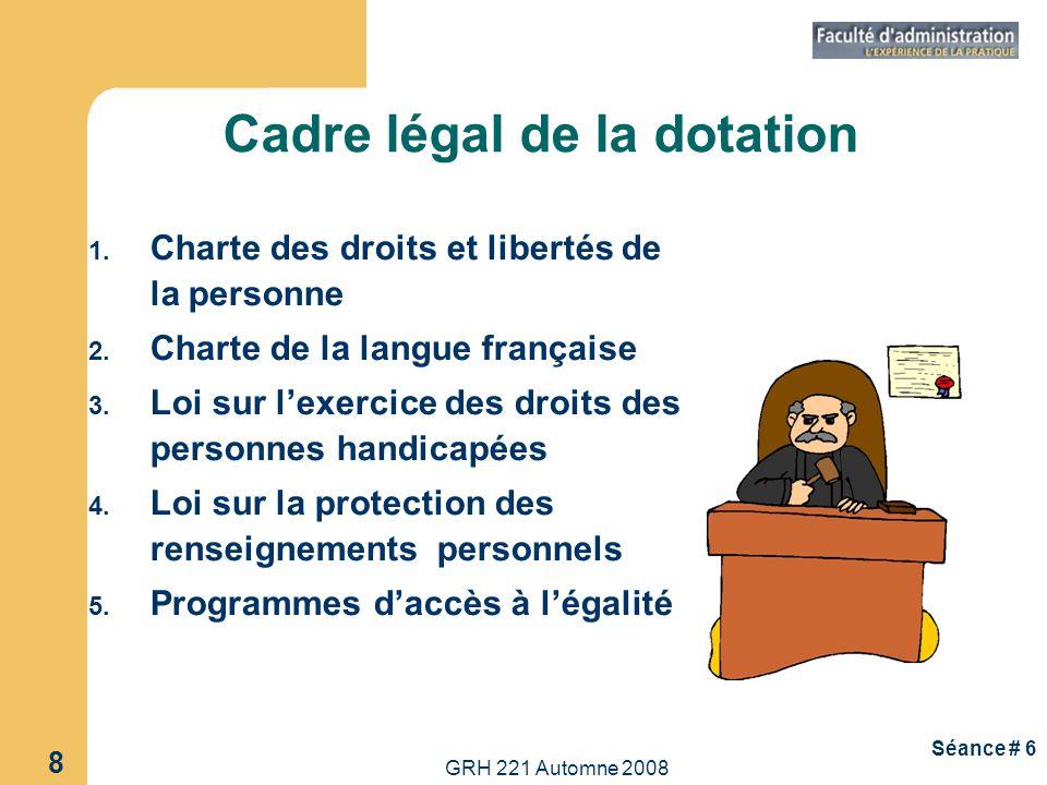 Cadre légal de la dotation