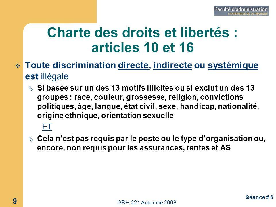 Charte des droits et libertés : articles 10 et 16