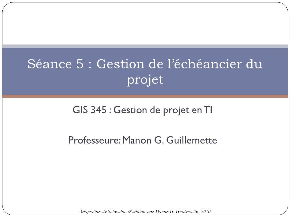 Séance 5 : Gestion de l'échéancier du projet