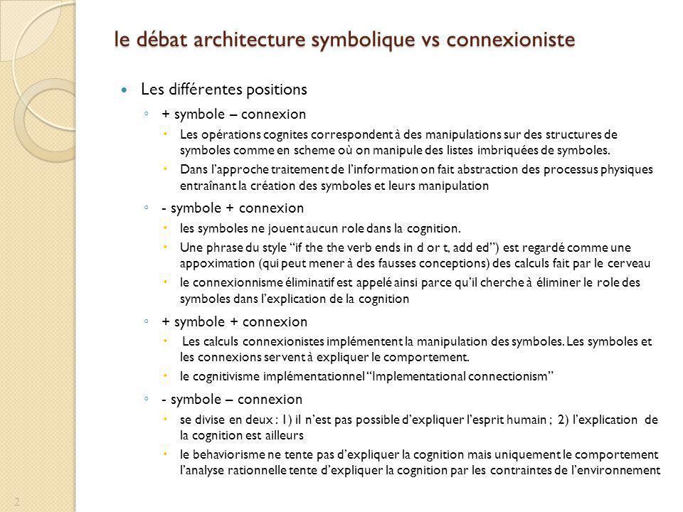 le débat architecture symbolique vs connexioniste