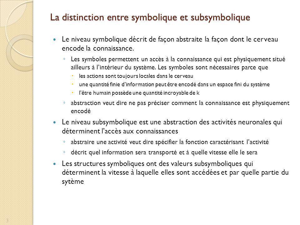 La distinction entre symbolique et subsymbolique