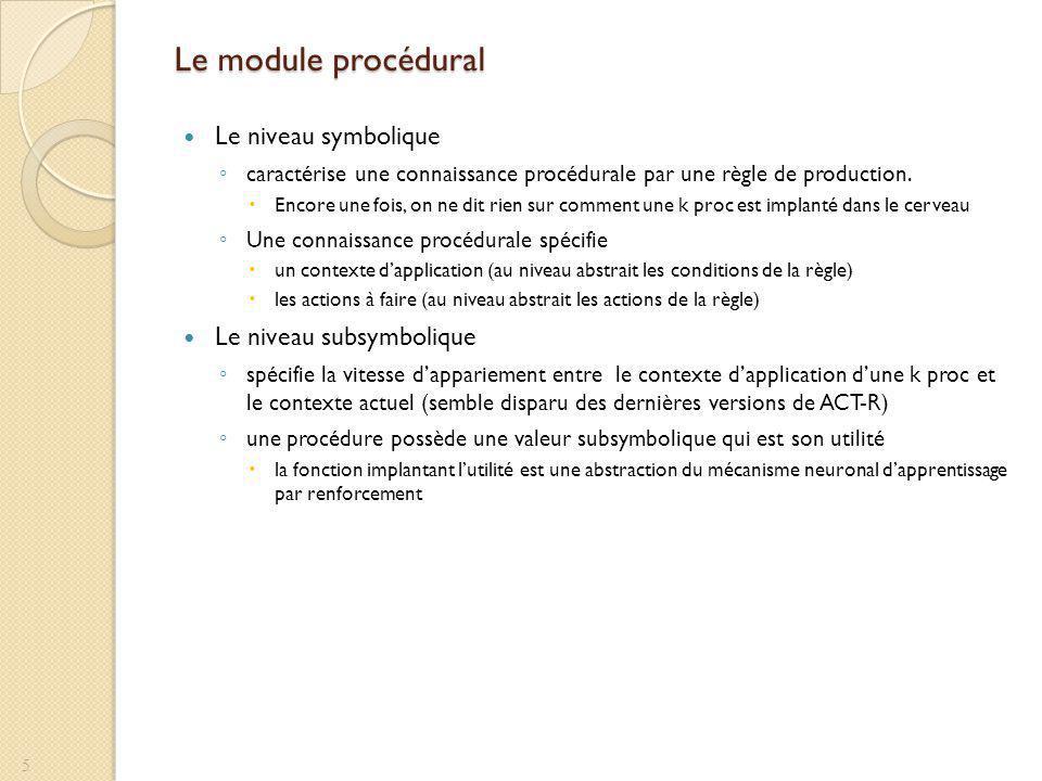 Le module procédural Le niveau symbolique Le niveau subsymbolique