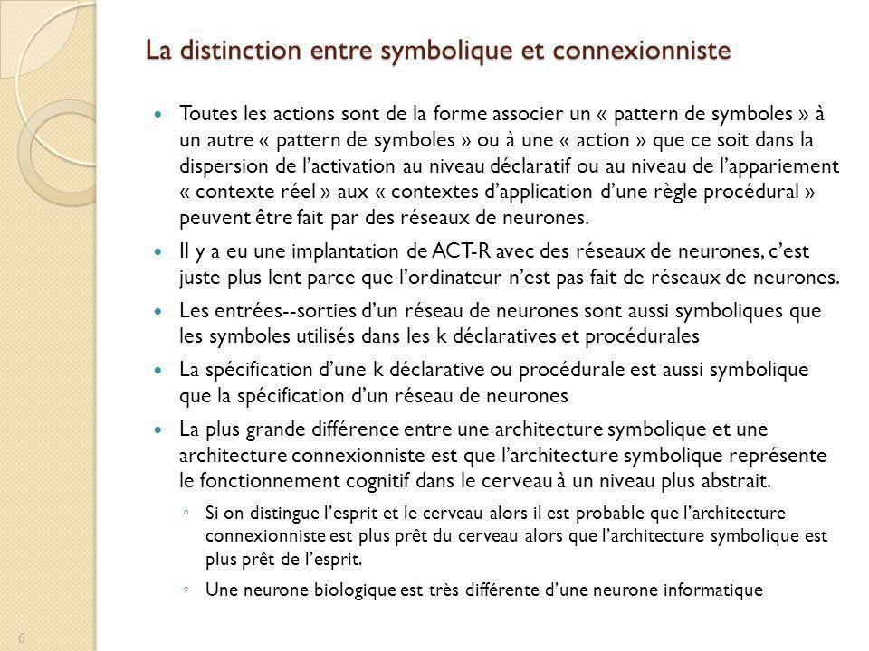 La distinction entre symbolique et connexionniste