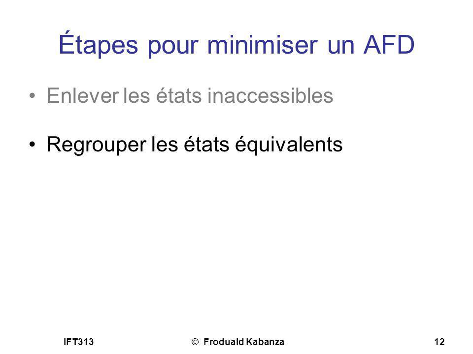 Étapes pour minimiser un AFD
