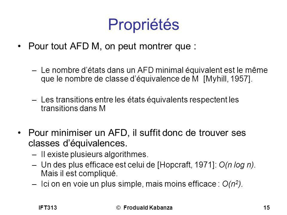 Propriétés Pour tout AFD M, on peut montrer que :