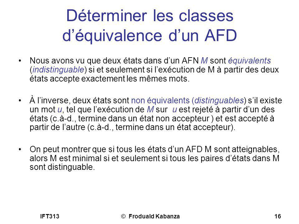 Déterminer les classes d'équivalence d'un AFD