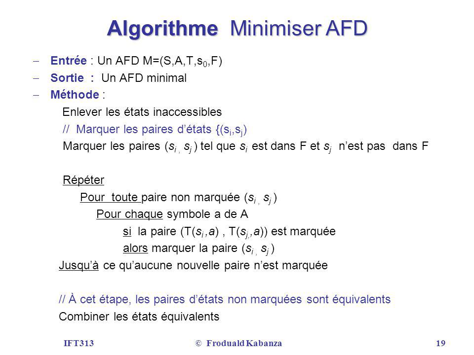 Algorithme Minimiser AFD