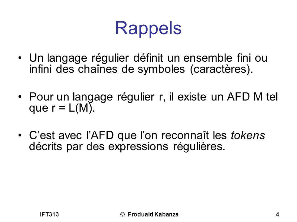 Rappels Un langage régulier définit un ensemble fini ou infini des chaînes de symboles (caractères).