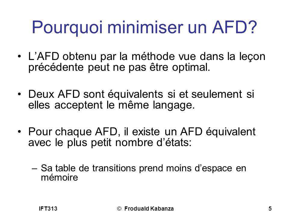 Pourquoi minimiser un AFD