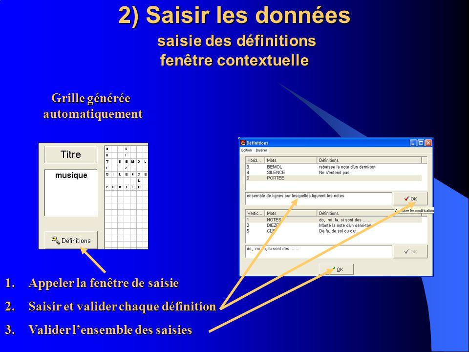 2) Saisir les données saisie des définitions fenêtre contextuelle