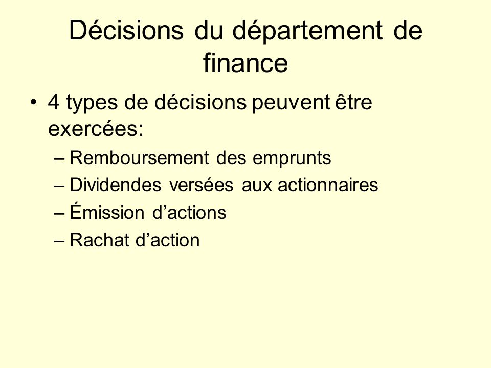 Décisions du département de finance
