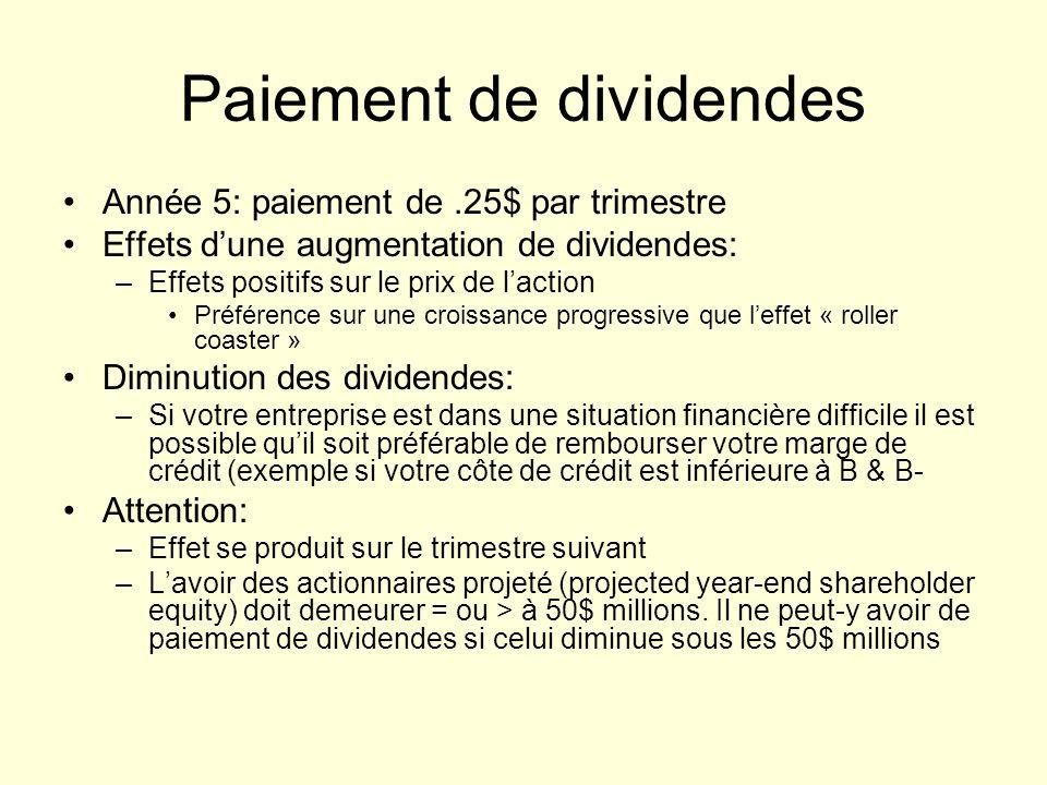 Paiement de dividendes