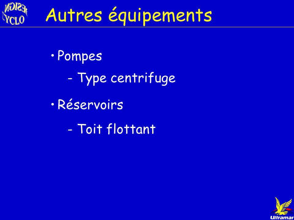 Autres équipements Pompes - Type centrifuge Réservoirs - Toit flottant