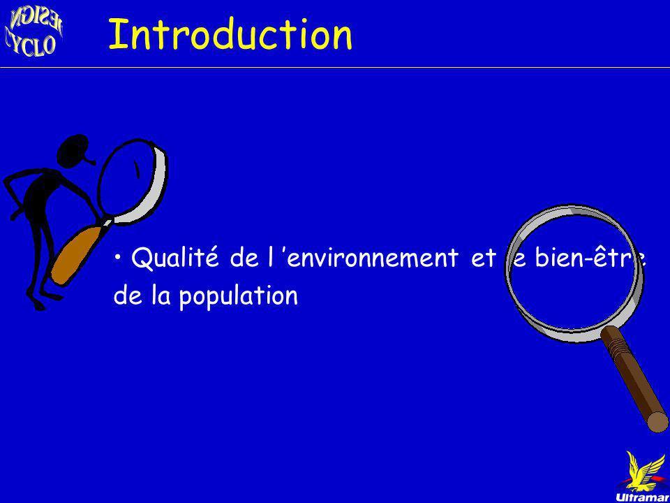 Introduction Qualité de l 'environnement et le bien-être de la population