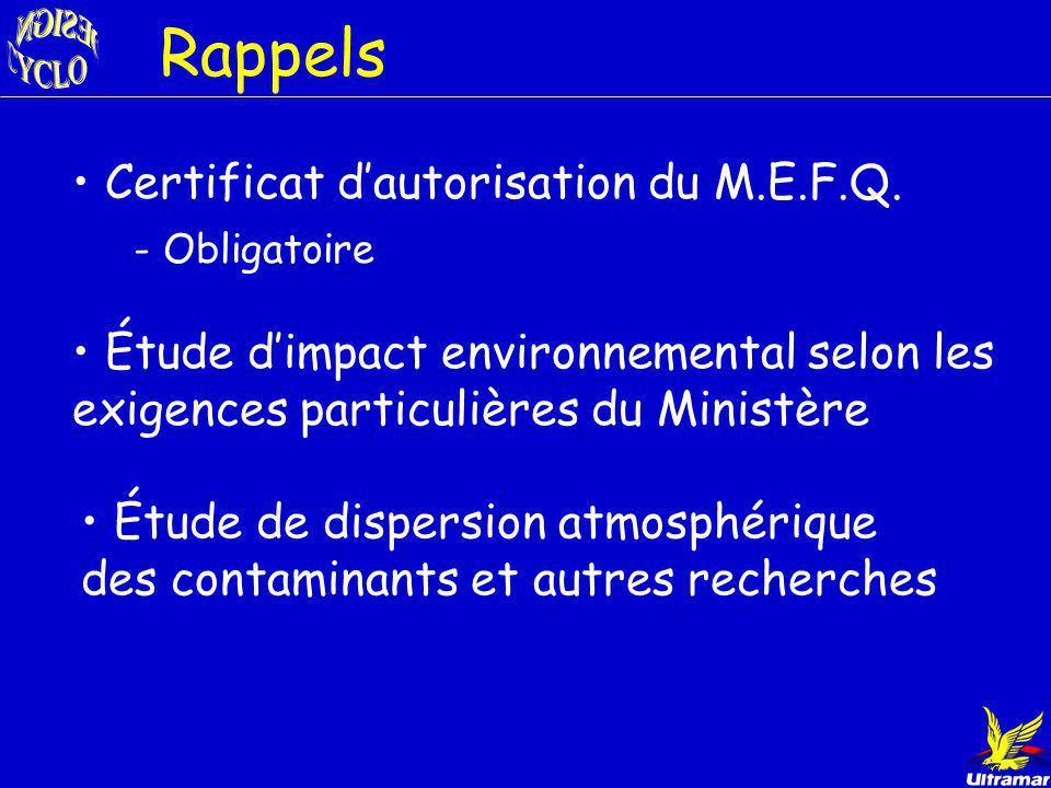 Rappels Certificat d'autorisation du M.E.F.Q.
