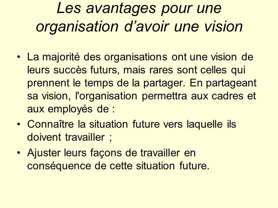 Les avantages pour une organisation d'avoir une vision