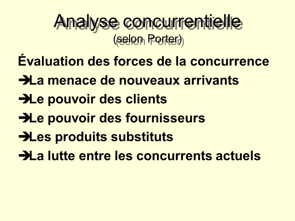 Cours 4 la planification strat gique ppt video online t l charger - Analyse concurrentielle porter ...