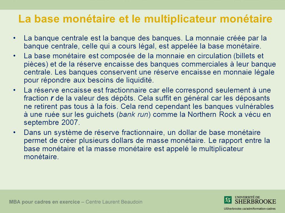 La base monétaire et le multiplicateur monétaire