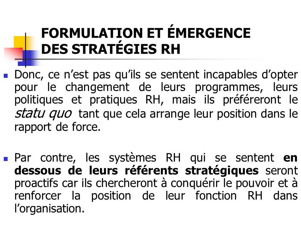 FORMULATION ET ÉMERGENCE DES STRATÉGIES RH
