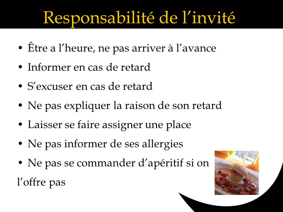 Responsabilité de l'invité