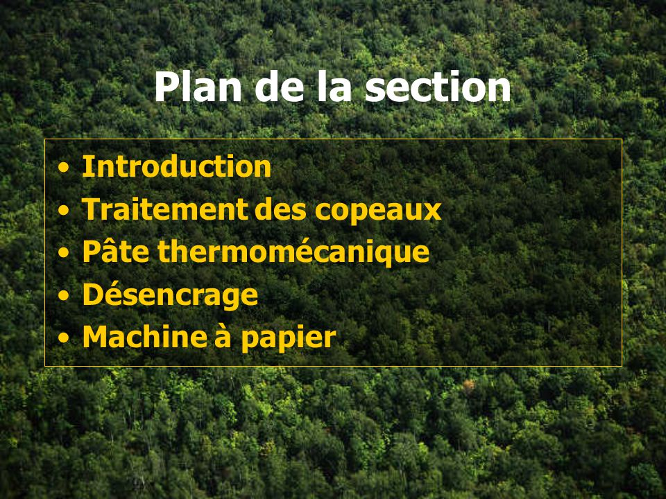 Plan de la section Introduction Traitement des copeaux