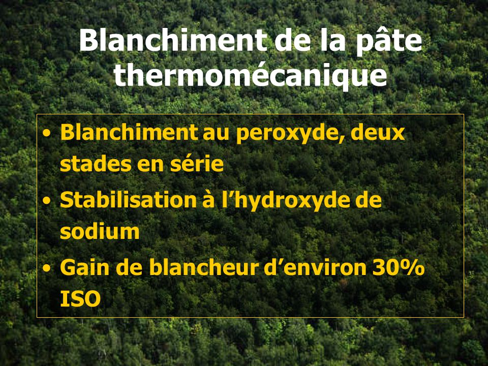 Blanchiment de la pâte thermomécanique