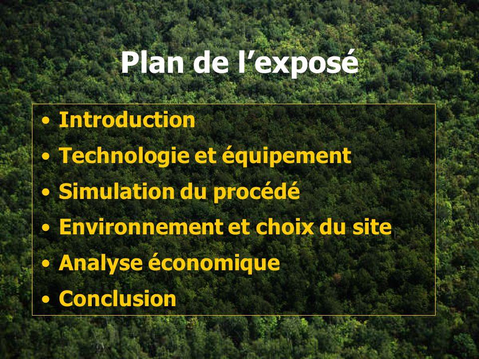 Plan de l'exposé Introduction Technologie et équipement
