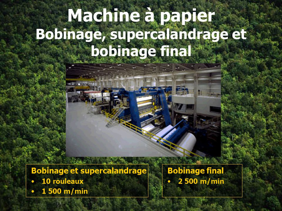 Machine à papier Bobinage, supercalandrage et bobinage final
