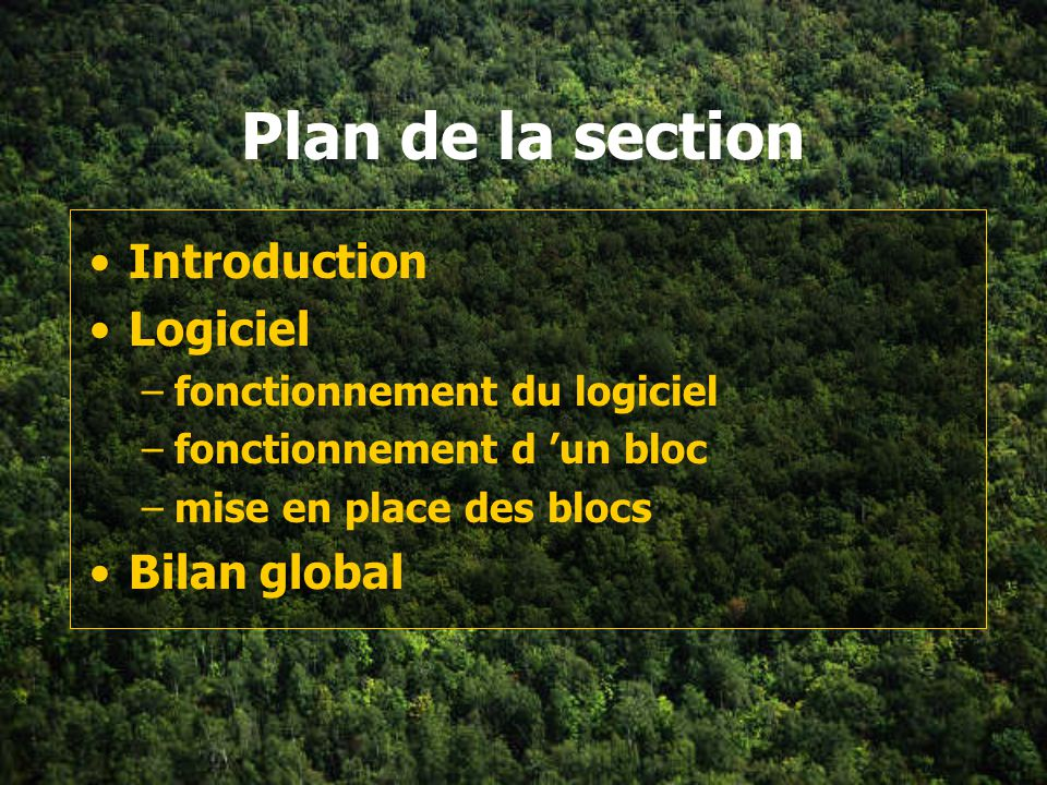 Plan de la section Introduction Logiciel Bilan global