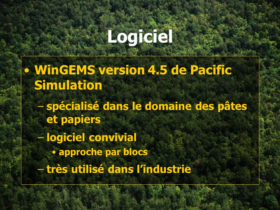 Logiciel WinGEMS version 4.5 de Pacific Simulation