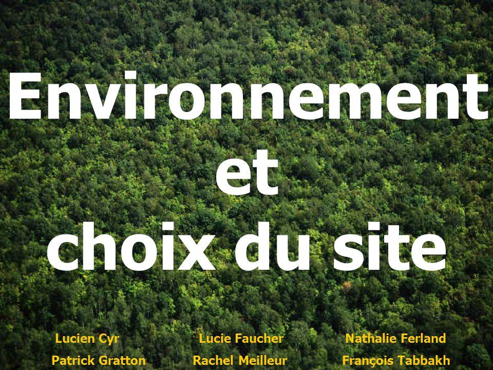 Environnement et choix du site